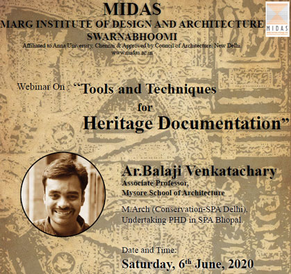 Webinar: Tools and Techniques for Heritage Documentation, on 06 Jun 2020 / 03:00 PM - 04:30 PM