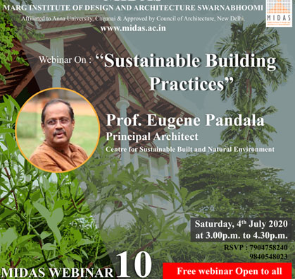 Webinar: Sustainable Building Practices', on 04 Jul 2020 / 03:00 PM - 04:30 PM