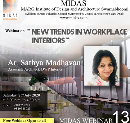 Webinar: New Trends in Workplace Interiors, on 25 Jul 2020 / 03:00 PM - 04:30 PM
