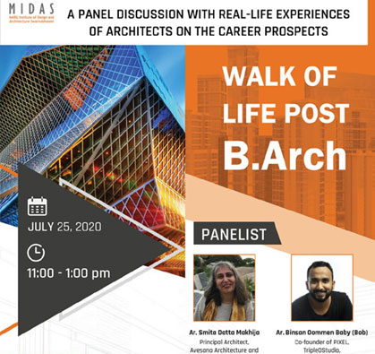 Panel Discussion on Walk Of Life Post B.Arch, on 25 Jul 2020