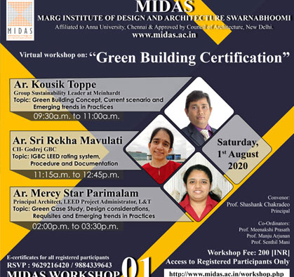 Virtual Workshop on 'Green Building Certification', on 01 Aug 2020
