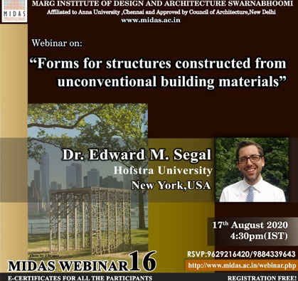 Webinar: Forms for Structures Constructed from Unconventional Building Materials, on 17 Aug 2020 / 04:30 PM