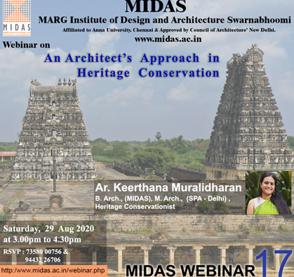 Webinar: An Architect's Approach in Heritage Conservation, on 29 Aug 2020