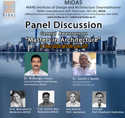 Panel Discussion on General Awareness on Masters in Architecture, on 05 Dec 2020