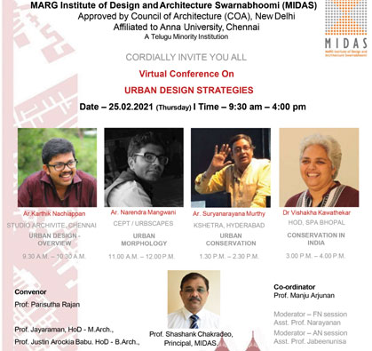 Virtual Conference on 'Urban Design Strategies', on 25 Feb 2021